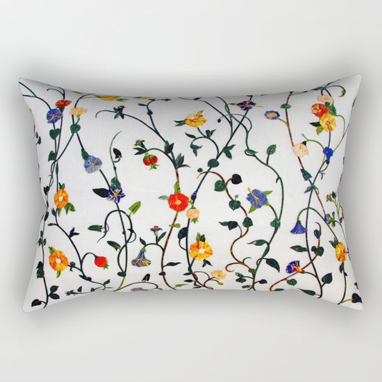 FLORAL AND VINE ABSTRACT PATTERN Rectangular Pillow