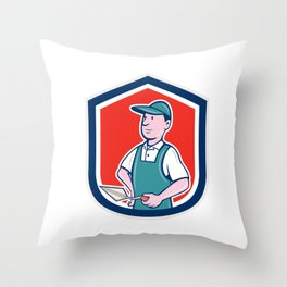 Bricklayer Mason Plasterer Shield Cartoon Throw Pillow