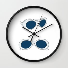 Blue Retro Sunglasses   60s Mod Wall Clock