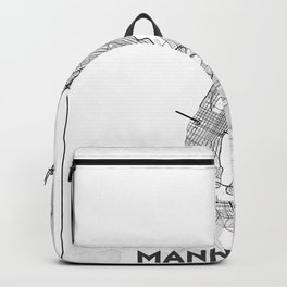 Minimal City Maps - Map Of Manhattan, New York, United States Backpack
