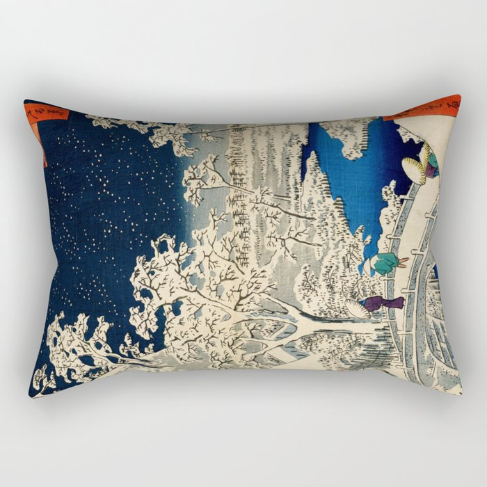 Ukiyo-e, Ando Hiroshige, Yuhi Hill and the Drum Bridge at Meguro Rectangular Pillow