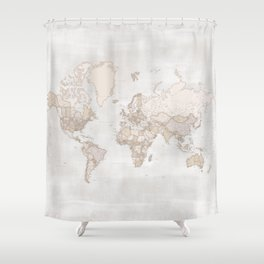 "Rustic and highly detailed world map with cities, square, ""Lucille"" Shower Curtain"