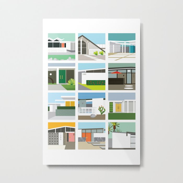 Midcentury Vintage Architecture Inspired by the Palm Springs Desert and Modern California Style Metal Print