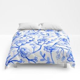 Watercolor Peonies - China Blue Comforters