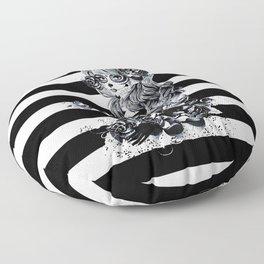 Black & White Sugar Skull Girl Floor Pillow