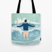 mad men Tote Bags featuring Mad Men by lazy albino