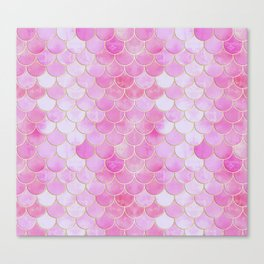Pink Pearlescent Mermaid Scales Pattern Canvas Print