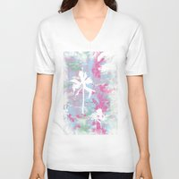 palm trees V-neck T-shirts featuring Palm Trees by Wendy Ding: Illustration