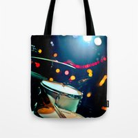 drums Tote Bags featuring drums by petervirth photography