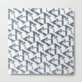 Triangle Optical Illusion Gray Lines Dark Metal Print