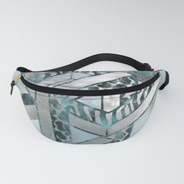 Abstract 3D Geometric Labradorite on Mother of pearl Fanny Pack