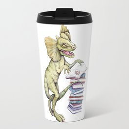 Dilophosaurus Loves Books Travel Mug