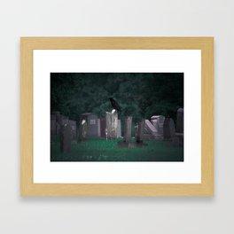 Crow in a Graveyard. Framed Art Print