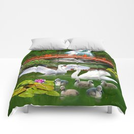 Swans and Baby Cygnets in an Oriental Landscape Comforters