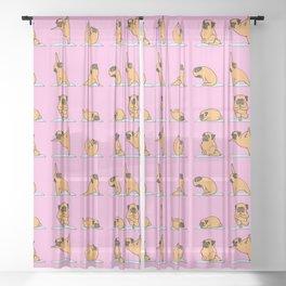 Pug Yoga // Pink Sheer Curtain