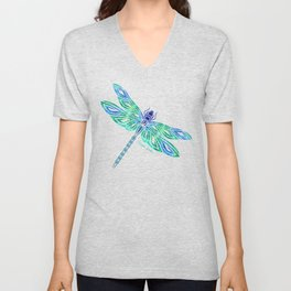Tribal Dragonfly Blues and Greens Unisex V-Neck