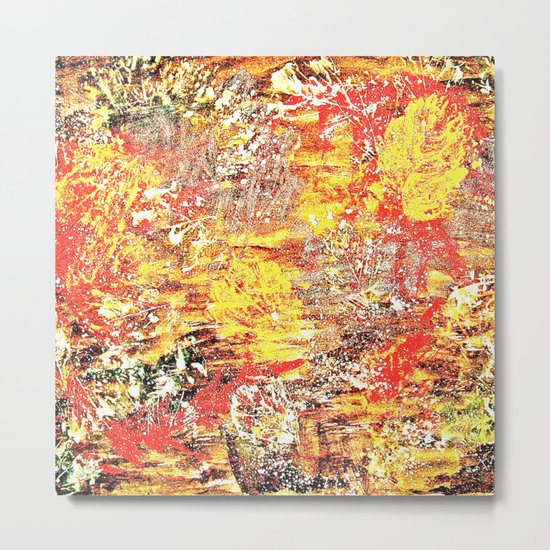 Golden Autumn Abstract Metal Print