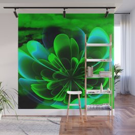 Abstract Green Flower Wall Mural