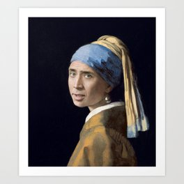 The Nic With the Pearl Earring (Nicholas Cage Face Swap) Art Print