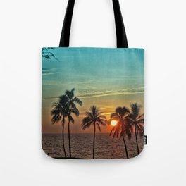 Sunset at Mauna Kea Beach, Hawaii Teal Tote Bag