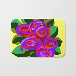 A Bouquet of Big Flowers with Yellow Background and Purple Tones Bath Mat