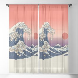 The Great Wave of Corgis Sheer Curtain