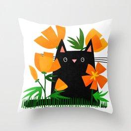 Poppy Black Cat Throw Pillow
