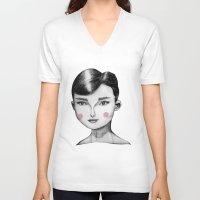 audrey hepburn V-neck T-shirts featuring Audrey Hepburn by Maripili
