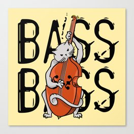 Cat Playing A Double Bass Canvas Print