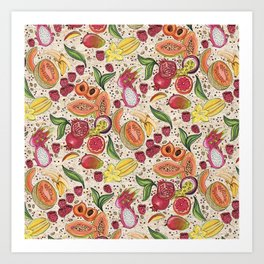 Ready to Eat - Fruit Pattern in White Art Print