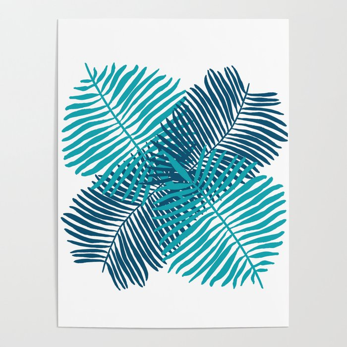 Modern Tropical Palm Leaves Painting Blue On White Background Poster By Laurabethlove Society6 Free for commercial use no attribution required high quality images. modern tropical palm leaves painting blue on white background poster by laurabethlove