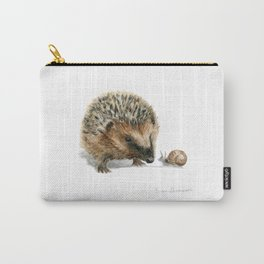 """Close Encounter"" painting of a Hedgehog and Snail by Teresa Thompson Carry-All Pouch"