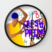 fresh prince Wall Clocks featuring Fresh Prince by Hannah  Aryee