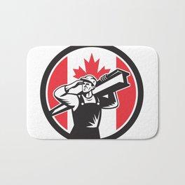 Canadian Construction Worker Canada Flag Icon Bath Mat