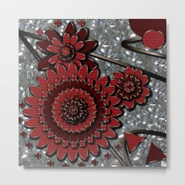 Red Glistens in Crystal  Metal Print