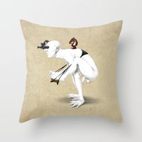 knight Throw Pillows featuring Knight by rob art | illustration