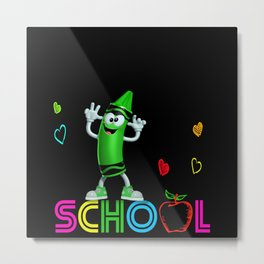Colored Pencil School Apple And Hearts Gift Motif Metal Print