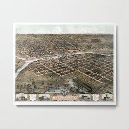 Bird's eye view of the city of Des Moines - Iowa - 1868 Metal Print