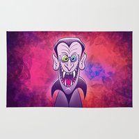 dracula Area & Throw Rugs featuring Evil Dracula by Zoo&co on Society6 Products