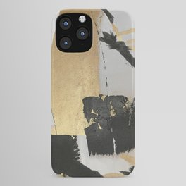 Gold leaf black abstract iPhone Case