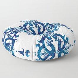 Blue carved tile ceramic effect Floor Pillow
