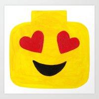 Heart Eyes - Emoji Minifigure Painting Art Print