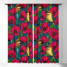 Bee eaters and poppies Blackout Curtain