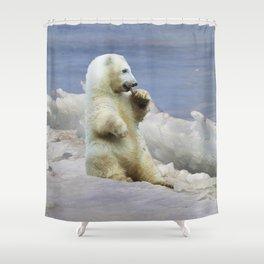 Cute Polar Bear Cub & Arctic Ice Shower Curtain