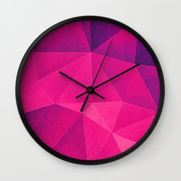 Abstract Polygon Multi Color Cubizm Painting in deep pink/purple  Wall Clock