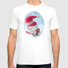 Mr Snowman Strikes Again  White SMALL Mens Fitted Tee