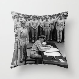 Admiral Nimitz Signing The Japanese Surrender Throw Pillow