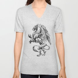 Dark Side Heraldic Griffin | Pencil Art Unisex V-Neck