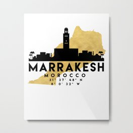 MARRAKESH MOROCCO SILHOUETTE SKYLINE MAP ART Metal Print