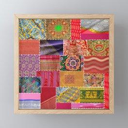 Boho Sari Patchwork Quilt Framed Mini Art Print